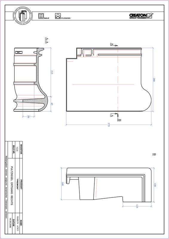 Súbor CAD škridly PREMION pultová škridľa krajná pravá PULTOGR