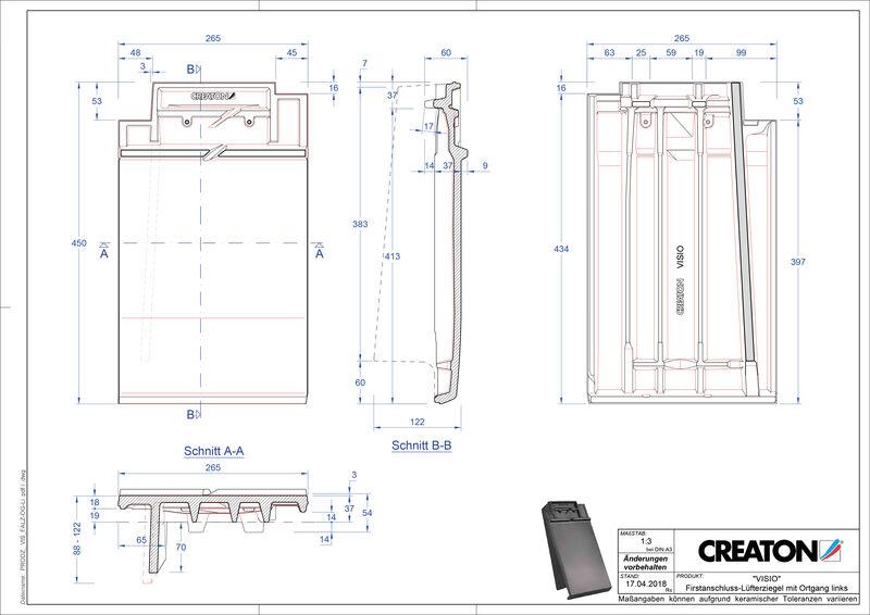 Súbor CAD škridly VISIO podhrebeňová vetracia škridľa krajná ľavá FALOGL
