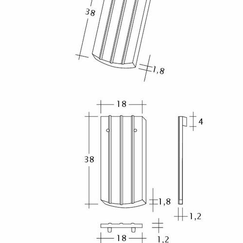 Technický výkres škridly PROFIL Kera-Saechs-18cm-1-1