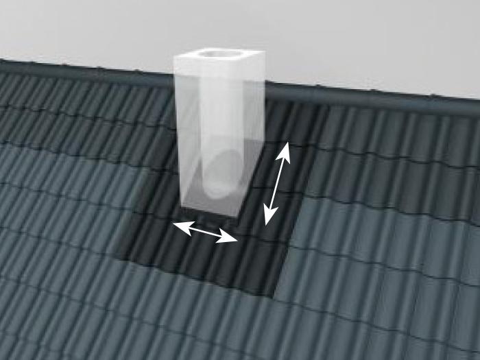 Spojenie plochy strechy a komínu