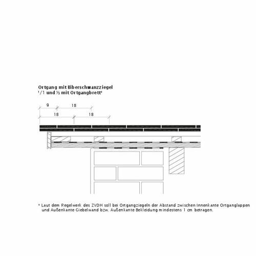 Technický výkres škridly KLASSIK OBL Ortgangausbildung-mit-Biberschwanzziegeln-1-1-2-Ortgangbrett