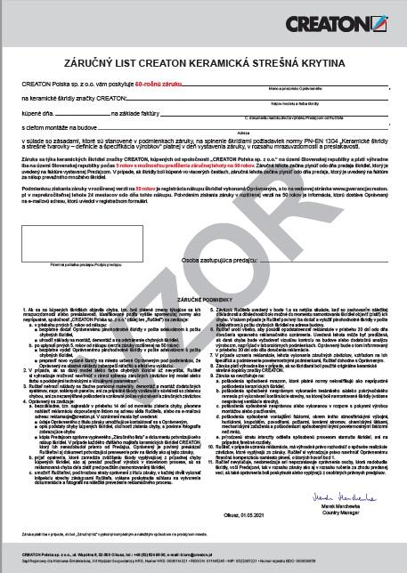 Záručný list na keramické škridly CREATON – vzor platí od 01.05.2021