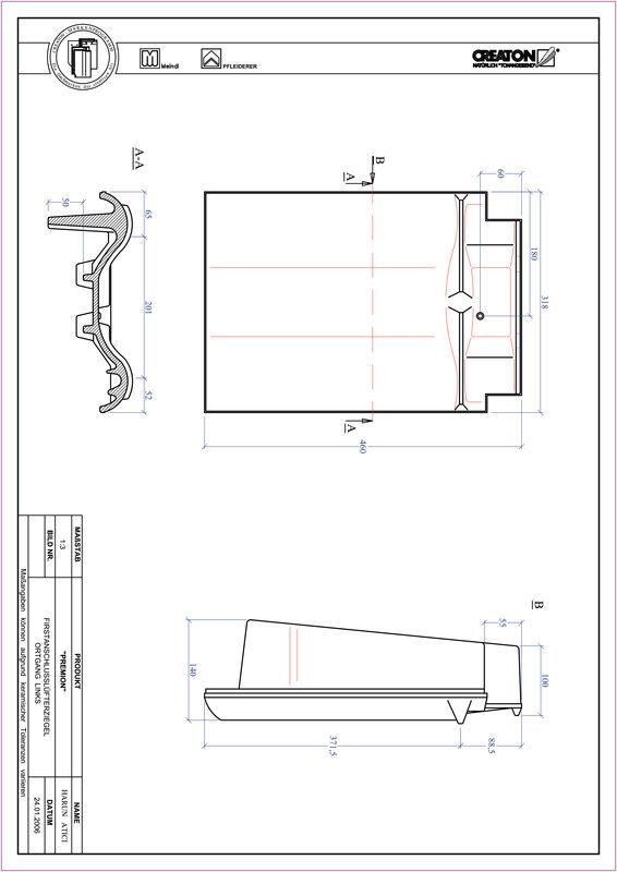 Súbor CAD škridly PREMION podhrebeňová vetracia škridľa krajná ľavá FALOGL