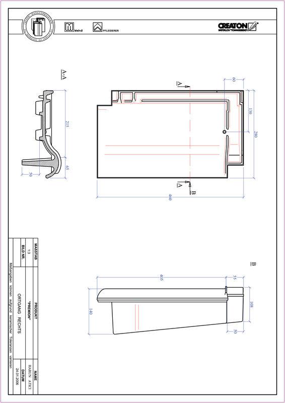 Súbor CAD škridly PREMION krajná škridľa pravá OGR