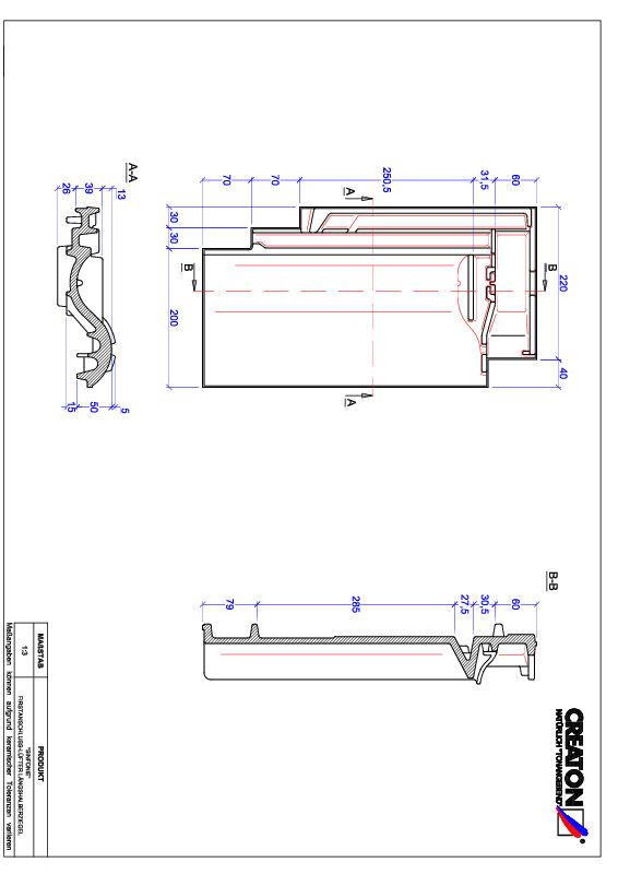 Súbor CAD škridly SINFONIE podhrebeňová vetracia škridľa polovičná FALLH