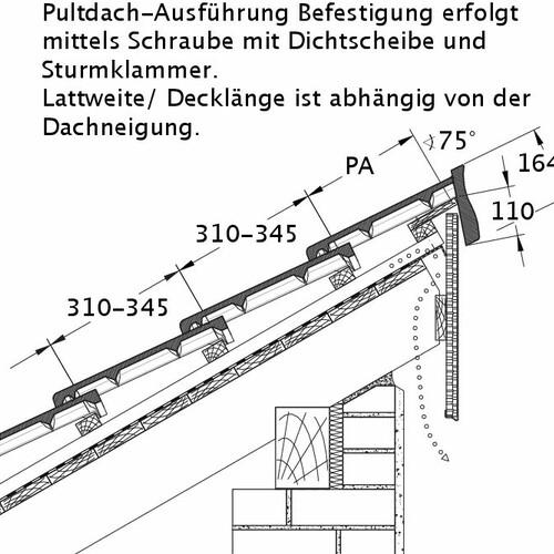 Technický výkres škridly HEIDELBERG PDA PROFILIERTE-BDS
