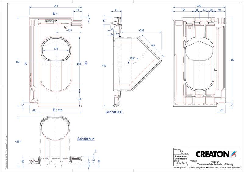 Súbor CAD škridly VISIO prestupová škridľa na odvod spalín THERME