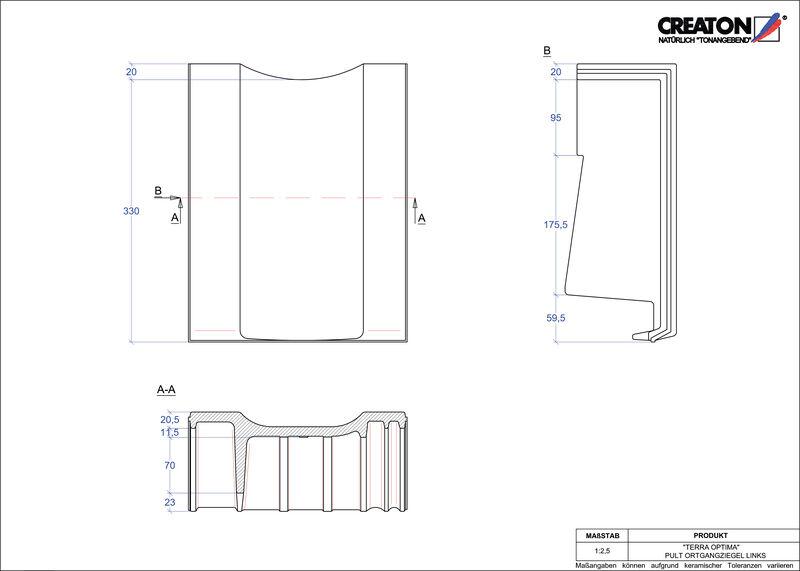 Súbor CAD škridly TERRA OPTIMA pultová škridľa krajná ľavá PULTOGL