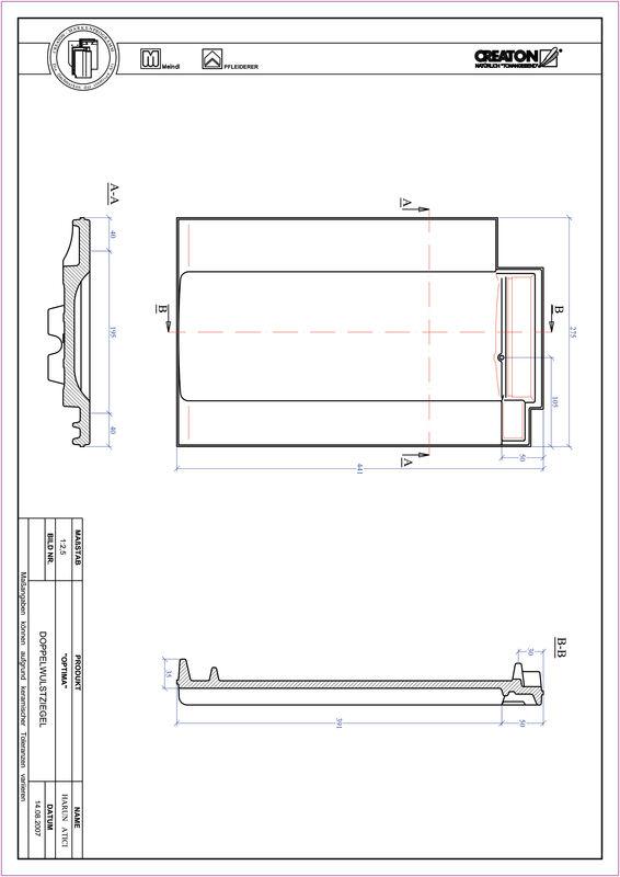 Súbor CAD škridly TERRA OPTIMA škridľa s dvojitou vlnou DWZ