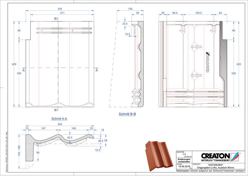 Súbor CAD škridly GÖTEBORG pultová škridľa krajná ľavá PultOGL-90