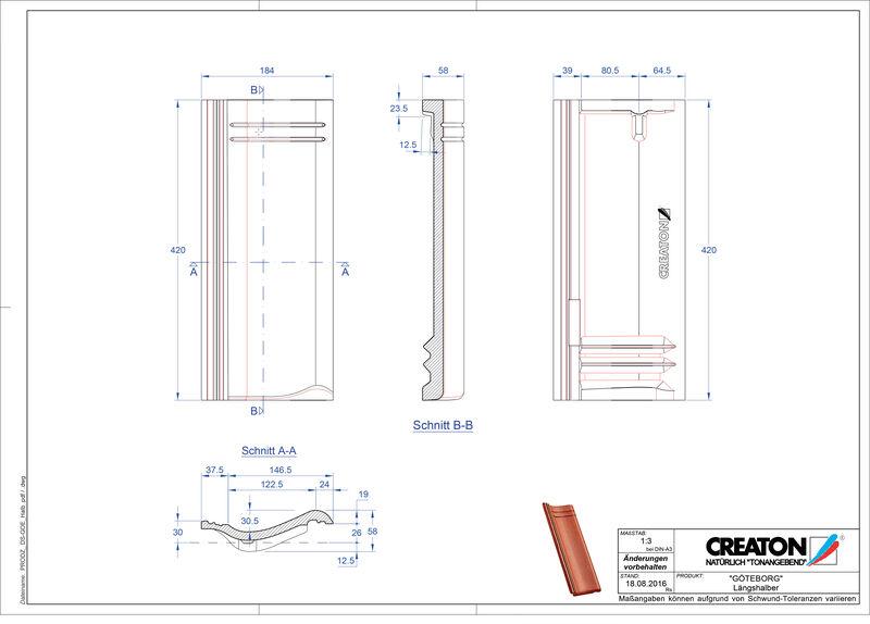 Súbor CAD škridly GÖTEBORG polovičná škridľa Laengshalber