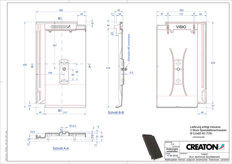 Súbor CAD škridly VISIO hliníková základná škridľa GRUNDALU
