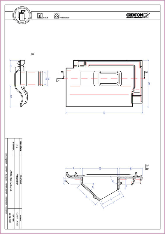 Súbor CAD škridly PREMION anténna škridľa ANTENNE