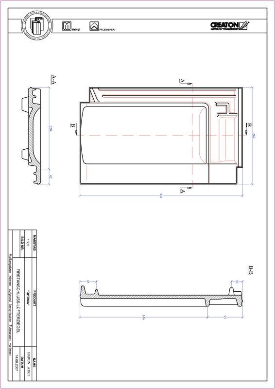 Súbor CAD škridly TERRA OPTIMA podhrebeňová vetracia škridľa  FALZ