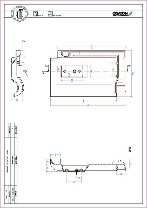 Súbor CAD škridly PREMION hliníková základná škridľa GRUNDALU