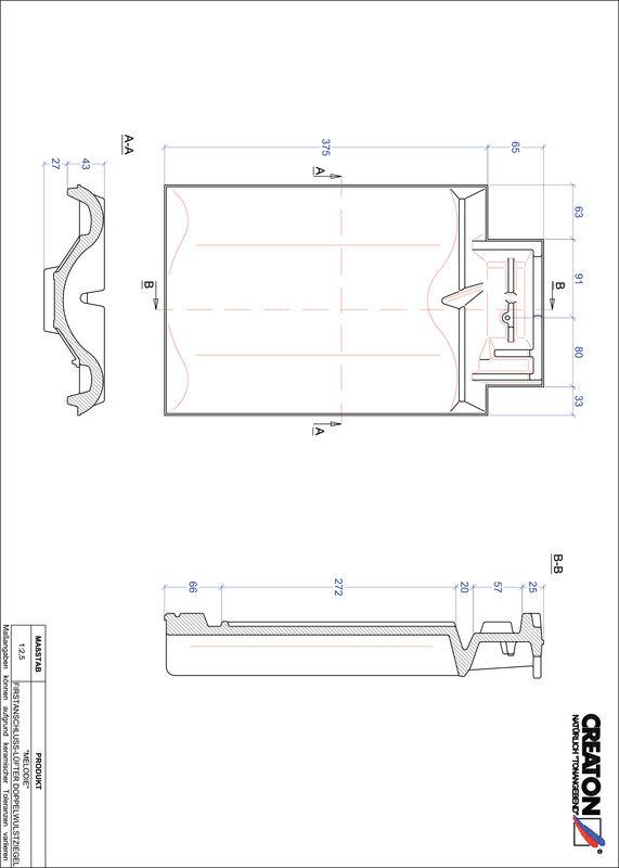 Súbor CAD škridly MELODIE podhrebeňová vetracia škridľa s dvojitou vlnou FALDWZ