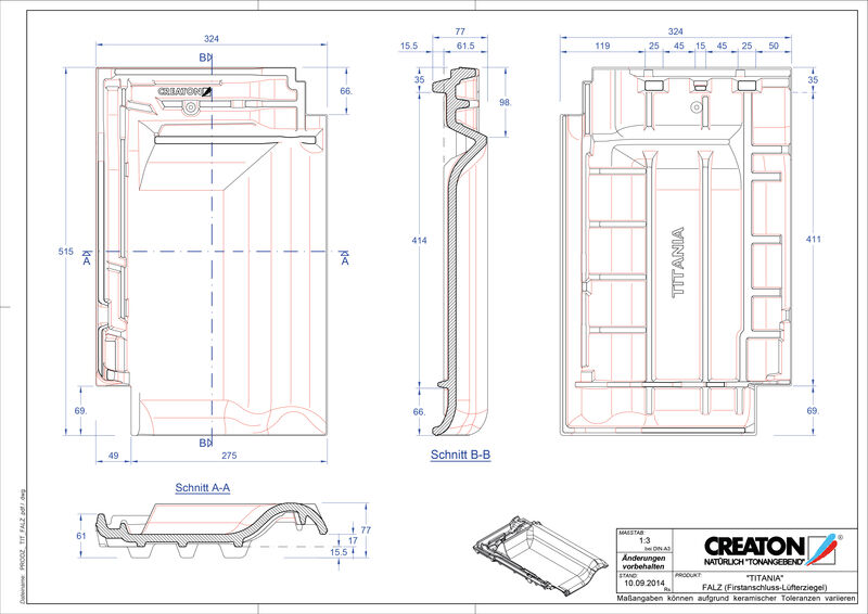 Súbor CAD škridly TITANIA podhrebeňová vetracia škridľa  FALZ