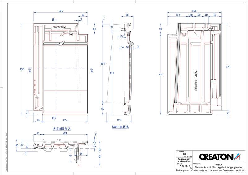 Súbor CAD škridly VISIO podhrebeňová vetracia škridľa krajná pravá FALOGR