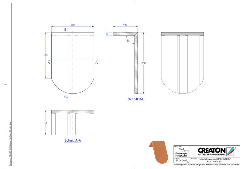 Súbor CAD škridly KLASSIK zaoblený vzor RUND-PULT-kurz