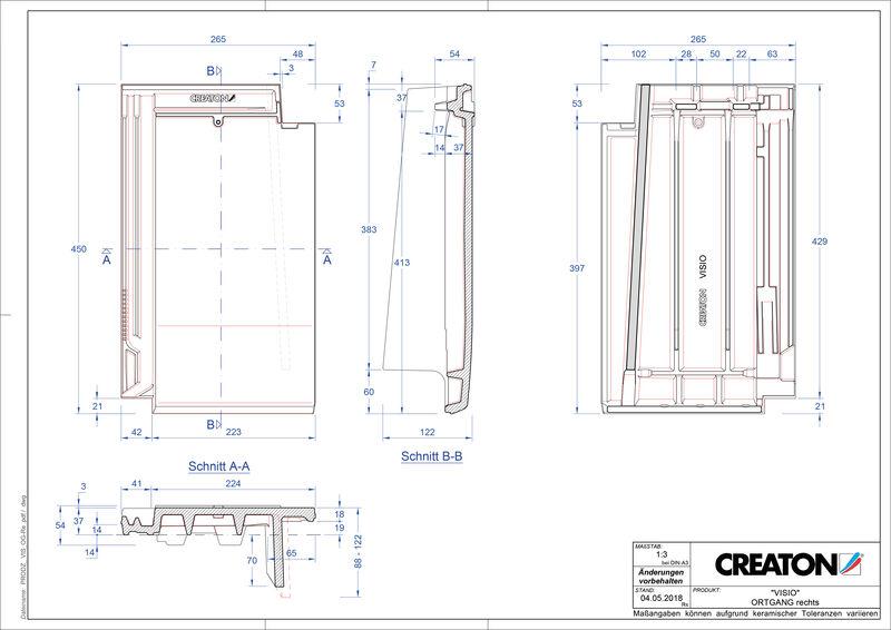 Súbor CAD škridly VISIO krajná škridľa pravá OGR
