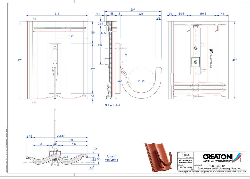 Súbor CAD škridly GÖTEBORG základná škridľa Rundholz