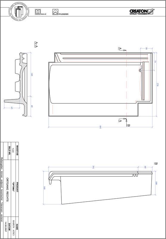 Súbor CAD škridly TERRA OPTIMA krajná škridľa pravá OGR