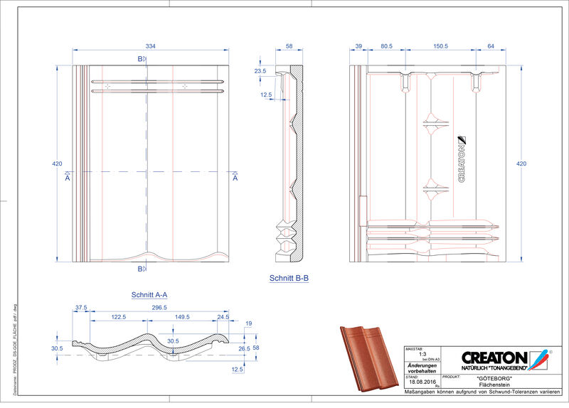 Súbor CAD škridly GÖTEBORG škridľa Flaechenstein