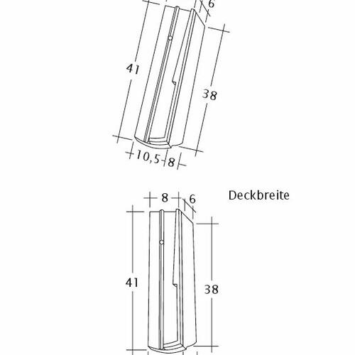 Technický výkres škridly PROFIL Kera-Saechs-18cm-SchiebeOG