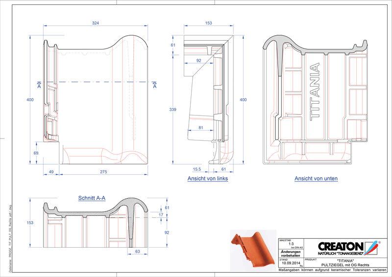 Súbor CAD škridly TITANIA pultová škridľa krajná pravá PULTOGR