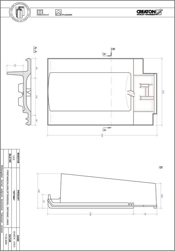 Súbor CAD škridly TERRA OPTIMA podhrebeňová vetracia škridľa krajná ľavá FALOGL