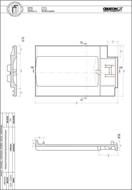 Súbor CAD škridly TERRA OPTIMA podhrebeňová vetracia škridľa s dvojitou vlnou FALDWZ
