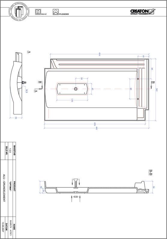 Súbor CAD škridly TERRA OPTIMA hliníková základná škridľa GRUNDALU