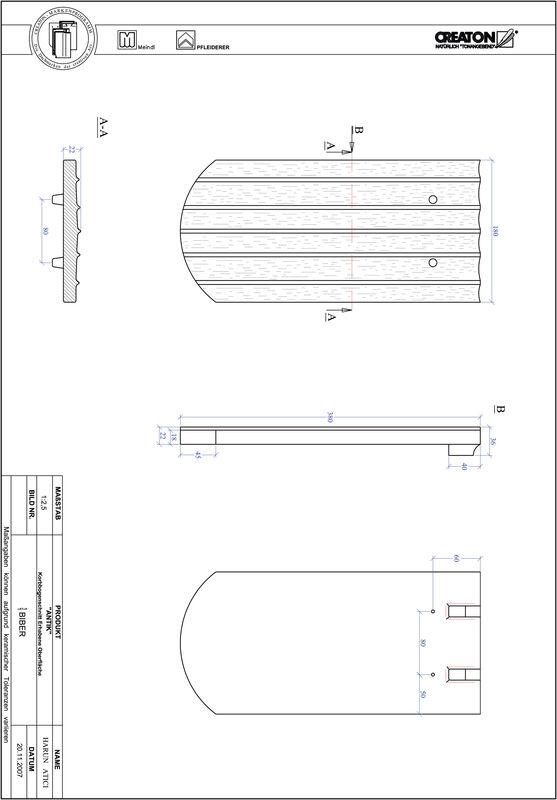 Súbor CAD škridly ANTIK polkruhový rez KORB-ERHO