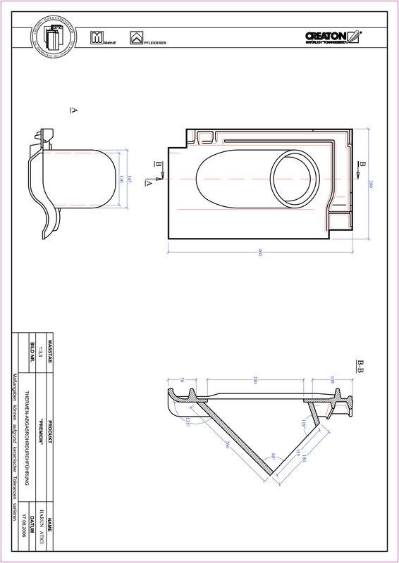 Súbor CAD škridly PREMION prestupová škridľa na odvod spalín THERME