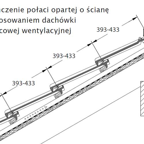 Technický výkres - Dokončenie plochy opierajúcej sa o stenu pomocou podhrebeňovej vetracej škridly