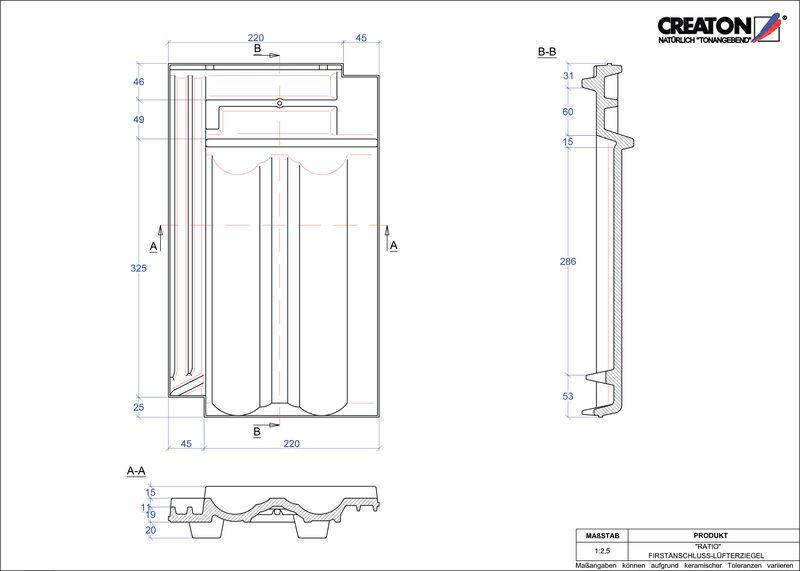 Súbor CAD škridly RATIO podhrebeňová vetracia škridľa  FALZ