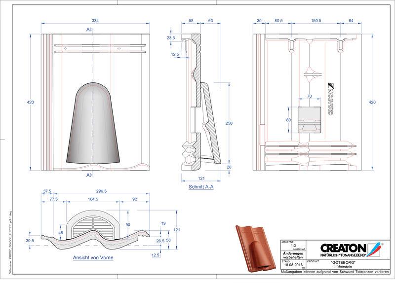 Súbor CAD škridly GÖTEBORG vetracia škridľa Luefterstein