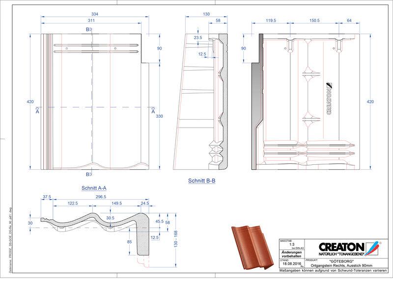 Súbor CAD škridly GÖTEBORG pultová škridľa krajná pravá PultOGR-90