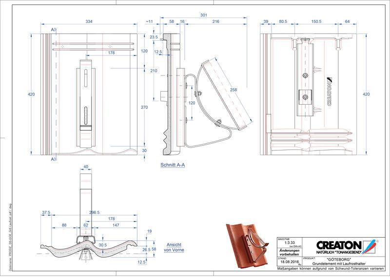 Súbor CAD škridly GÖTEBORG základná škridľa Laufrost
