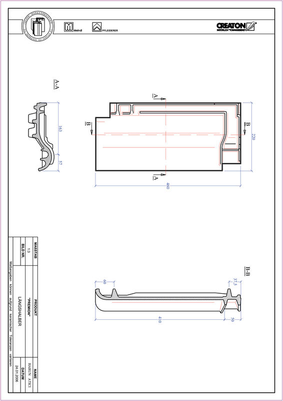 Súbor CAD škridly PREMION polovičná škridľa LH