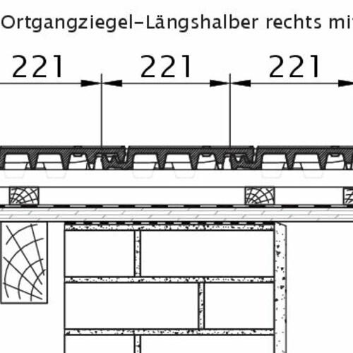 Technický výkres škridly VISIO OG krajná pravá polovičná škridľa s policou OLH