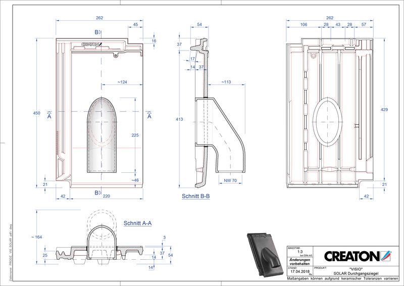 Súbor CAD škridly VISIO prestupová škridľa na solárne systémy SOLAR
