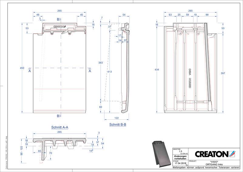 Súbor CAD škridly VISIO krajná škridľa ľavá OGL