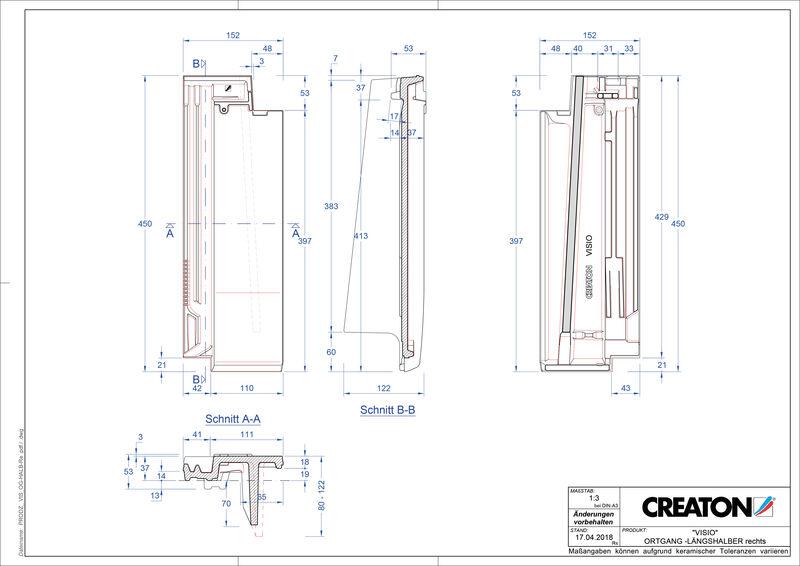 Súbor CAD škridly VISIO krajná škridľa polovičná pravá  LHOGR