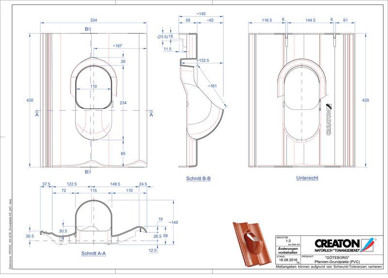 Súbor CAD škridly GÖTEBORG doplnky Grundplatte-PVC