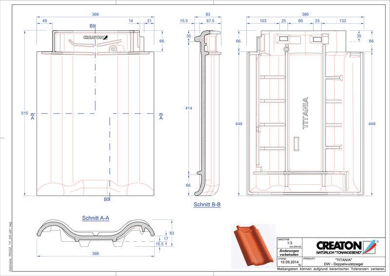 Súbor CAD škridly TITANIA škridľa s dvojitou vlnou DWZ