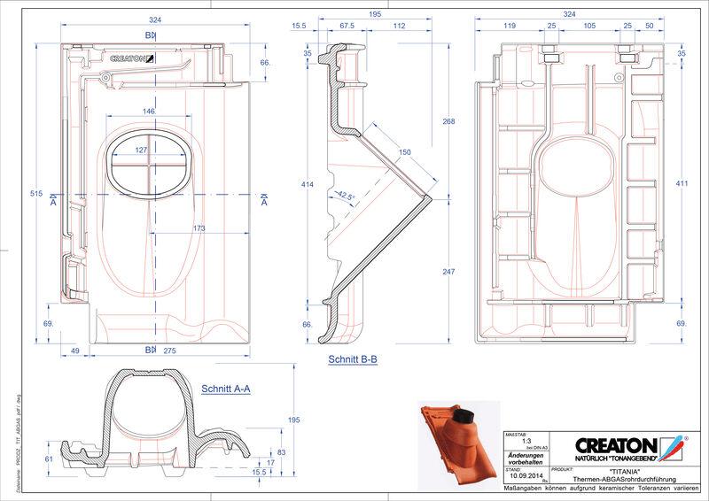 Súbor CAD škridly TITANIA prestupová škridla na odvod spalín THERME