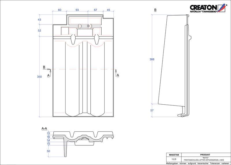 Súbor CAD škridly RATIO podhrebeňová vetracia škridľa krajná ľavá FALOGL