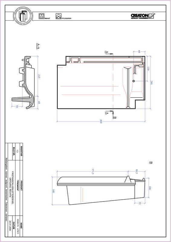 Súbor CAD škridly PREMION podhrebeňová vetracia škridľa krajná pravá FALOGR