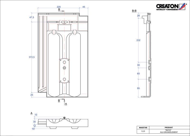 Súbor CAD škridly RATIO hliníková základná škridľa GRUNDALU